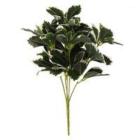 7-ramo planta artificial folhas buquê simulação planta decoração hotel hotel plástico folhas falsas decoração1