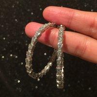 Yeni Sıcak Ins Moda Lüks Tasarımcı Köpüklü Elmas Zirkonya Dairesel Hoop Saplama Küpe Kadın Kızlar için Altın Gümüş Renk