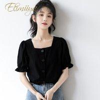 Blouses Femmes Chemises Élimiiya Summer Black Shirt à manches courtes en vrac Étudiant Court Collier Square Collier Top Hope Sleeve Femmes