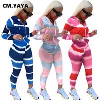 Kadın Eşofman Cm.Yaya Aktif Degrade Çizgili Baskı Sweetsuit İki 2 Adet Set Kadınlar Için Kış Fitness Kıyafet Kapüşonlu Ceket + Pantolon Trac