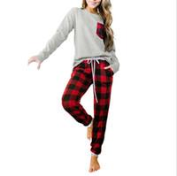 Neujahr Weihnachten Pyjamas Sets Buffalo Plaid Zweiteiler Anzug Langarm T-shirt Karierte Legging Hosen Nachtwäsche Loungewear S-2XL E111806