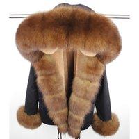 MaoMaoKong зимняя куртка утепленная натуральный мех лисы воротник натуральный мех пальто Фукс меховой подкладке женщин пальто 201118