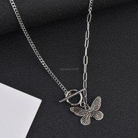 Schmetterling OT Schnalle Verschluss Halskette Alte Silber Schmetterling Halsketten Anhänger Ketten Frauen Modeschmuck Will und Sandy Geschenk