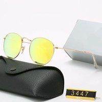 YXTJTJ Klasik Tasarım Marka Yuvarlak Güneş Gözlüğü UV400 Gözlük Metal Altın Çerçeve Yalın Gözlük Erkekler Kadınlar Ayna Cam Lens Güneş Gözlüğü Ile Yrf