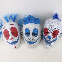Komik Palyaço Cadılar Bayramı Maskesi Cadılar Bayramı Punk Palyaço Kırmızı Gözler Lateks Maske Mavi Peruk Sirk Dans Parti Makyaj Parti Cosplay Props1