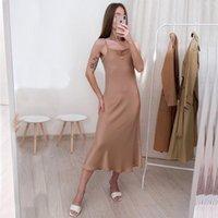 2020 Sonbahar Seksi Saten Pürüzsüz Sling Elbise Kadın Kare Yaka Backless Uzun Elbise Kadın Düz Renk Moda Ince Parti Elbiseler