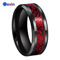 Bague de mariage de mariage noir bague en carbure de tungstène Bague de carbure de tungstène avec une opale rouge et un dragon noir Inlay Y1119