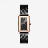 Shengke Donne quarzo orologio da polso da polso rettangolare Dial Geneva Designer Designer in acciaio inox cinturino analogico moda orologi nascosti Chiusura nascosta