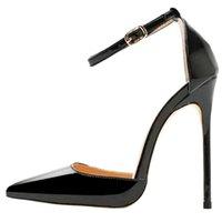 Lovirs Womens Sexy High Heel Salto apontado Toe Ankle Strap Stiletto 12 cm Bombas Patentes de Casamento Vestido de festa de casamento sapatos Grande tamanho 4-15 210204