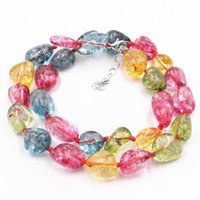 Multi Tourmaline Stone Beads Chain Necklace Freeform Crystal Irregular Choker Necklaces for Women Chalcedony Jewelry 17inch A832