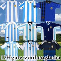 1986 Retro Argentina Maradona Jersey 85 78 96 98 06 14 Crespo J.Zanetti Batistuta Messi Riquelme Kempes Crespo Camisa Antiga de Futebol