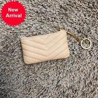 Mulheres moda mini moeda bolsa v grão caviar couro cartão pequeno carteira