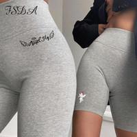 FSDA 2020 cinzento verão bordado suor shorts mulheres cintura alta preto casual sexy motocicler shorts ciclismo esporte streetwear
