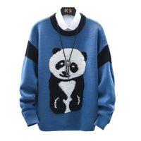 만화 팬더 망 스웨터 2020 한국 스타일 streetwear 패션 단단한 빈티지 O 넥 점퍼 니트 풀오버 남자 스웨터 W1486