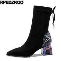 Botlar Siyah Lace Up Ayak Bileği Artı Boyutu Rhinestone Tıknaz Büyük Sivri Burun Elmas Yüksek Topuk Sandalet Ayakkabı Kadın Moda 10
