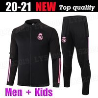 Männer Kids Kit 2020 2021 Real Madrid Jacket Training Tragen Fussball Jersey Hazard Sergio Ramos Benzem Vinicius Camiseta Football Jogging Anzug UN
