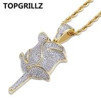 TopGilz Gold Rose Blume Blütenblätter Halskette Anhänger mit 4mm Tenniskette Euro auszuricken Zirkon Bling Männer Hip Hop Schmuck Geschenke1