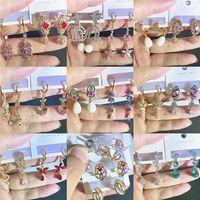 الأزياء اللؤلؤ أقراط حجر الراين اللون حفظ الكورية نمط شرابة مهدب مطلي الزركون أقراط ملونة للنساء فتاة حر فيديكس