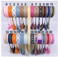 Broderade brev Bohemian Women Bracelet Retro Handgjorda Boho Multicolor String Cord Woven Flätade Vänskap Armband Män