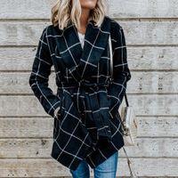 المرأة سترة مع حزام الخريف والشتاء أزياء طويلة معطف الصوف الأوروبي والأمريكية نمط إمرأة التلبيب الرقبة خندق معاطف 3 ألوان S-XL