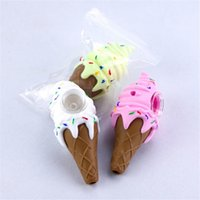 마른 허브 용 아이스크림 디자인 실리콘 핸드 파이프 실리콘 워터 파이프 흡연 담배 파이프 유리 봉 3 색 무료 배송