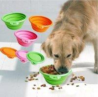 Color plegable plegable para perros de silicona Color de caramelo Viaje al aire libre Perrito portátil Doogie Alimento Alimentador Feeder Let2022POP