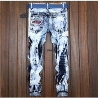 Men &#039 ;S Retro Hole Pants Casual Fashion Elastic Jeans Male European Style Pants Free Shipping t