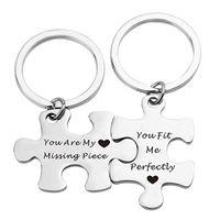 """2pcs 스테인레스 스틸 퍼즐 문자 """"당신은 내 누락 된 조각""""커플 키 체인 귀여운 열쇠 고리 홀더 발렌타인 선물 llavero1"""