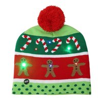 2021 New Year LED Knitted Christmas Hat Light Up Illuminate Warm Hat For Kids Adults New Year Christmas Decoration