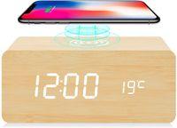 المنبه الرقمية مع تشى اللاسلكية شحن وظيفة 3 إعدادات إنذار لوحة خشبية بقيادة ليلة التحكم الرقمية على مدار الساعة صوت، 4 ألوان