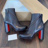 Luxurys дизайнеры обувь зимние сапоги красные подошвы Birgitta Booty женщины красные нижние ботинки лодыжки с Zip Elegant Lady Beeties платье вечеринка EU35-43