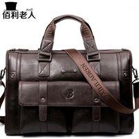 """Baililaoren Business Pasta de couro homem 14-15 """"Bolsas de laptop Bolsas Grande Capacidade Viagem Mensageiro Crossbody Bag P0831"""