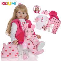 Keiumi 24 pollici Bella rinascita Dolls Reborn Bambole da 60 cm Panno morbido Body Vinyl Gold Curls Baby Doll Reborns Giocattoli per il giorno dei bambini A presente LJ201031