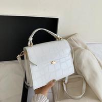SWDF Stone Patent White Crossbody Taschen für Frauen 2020 Kleine Handtasche Kleine Tasche PU Leder Handtasche Damen Designer Abendtaschen