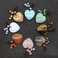 30 mm forma de corazón Colgante de ágata de piedra natural para collar pulsera haciendo tejido piedra llavero colgantes joyería de moda