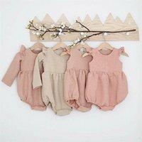 Herbst Baby Mädchen Kleidung Baumwolle Langarm Baby Strampler Für Neugeborene Winter Boutiques Leinen Playsuit Foto Requisiten Infant Outfit 201216
