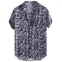 MUQGEW Erkek Gömlek Düğmesi Erkek Leopar Baskılı Göğüs Cebi Down Yaka Kısa Kollu Rahat Gevşek Gömlek Camisa Masculina # Y31