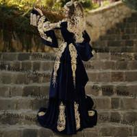 Robe de soirée marocaine marotale avec jupe détachable Deux pièces à manches longues Velvet Velvet Velvet robe arabe robe de soirée arabe LJ201224