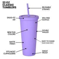 Coupes acryliques de couleur 16oz Coupes en plastique Mat Tumbler avec couvercles 6 couleurs 16 oz Tobule acrylique en plastique mate double mur double tasse réutilisable