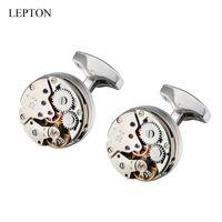 Venta caliente Reloj Movimiento Diseño Gemelos para hombre Lepton Steampunk Reloj de engranajes Mecanismo Mecanismo Gemelos Hombre Camisa Puños Gemelos Regalo B1204