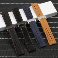 22mm Lederarmband für Fit TAG Heuer Carrera Serie Männer Band Watch Strap Armband Armband Zubehör Faltschnalle
