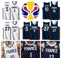NCAA 2022 World Cup Team Pallacanestro Jersey Francia 2 Amath M Baye 21 Andrew Albicy 17 Vincent Poirier 26 Mathias Lessort Gobert Batum Fournie