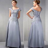 Graue Mutter der Brautkleider A-Line Cap Sleeves Chiffon Spitze Perlen langer eleganter Bräutigam Mutterkleider für Hochzeit Abendkleid
