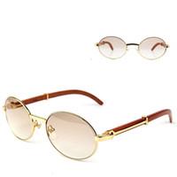Ienbel Oval Buffalo Horns Metals Gentlemen Sunglasses Brand Designer Sol Mujeres Marco de madera Sombras de vidrio