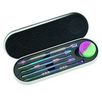 Conjunto de kit de herramientas DAB con contenedor de silicona de 5 ml de plata Rainbow Silver 5PCS Larga Dabber Tool Metal Paquete individual para cera Dry Herb Jars DHL