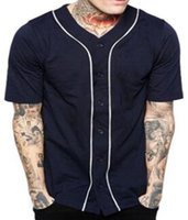 Billig Männer Baseball Jersey T-shirt Kurzarm Street Hip Hop Baseball Top Shirts Button Navy Blue Solid Sport Shirt