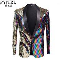 Pyjtrl Yeni Erkek Şık Altın Renklendirilmiş Çift Renkli Sequins Blazer Gece Kulübü Bar Sahne Şarkıcı Kostüm Düğün Damat Suit Ceket1