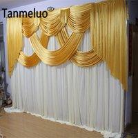 10x10ft الذهب والأبيض الزفاف خلفية لوحات الحدث حزب الستار الستارة الجليد الحرير خلفية القماش للمرحلة الديكور