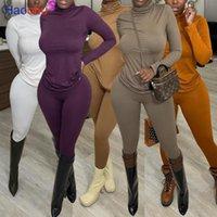 Traje de chándal 2pcs Mujeres Conjunto Turtleneck Top Sweatshirt + Jogger Pinks Pantalones Dos piezas Sets Mujeres Trajes de ropa Mujer