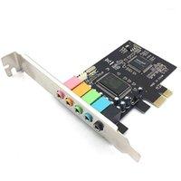 Звуковые карты 5.1 Внутренняя карта для ПК Windows 10 с низкопрофильным кронштейном, 3D Stereo PCI-E, CMI8738 чип 32/64 бит PCI1
